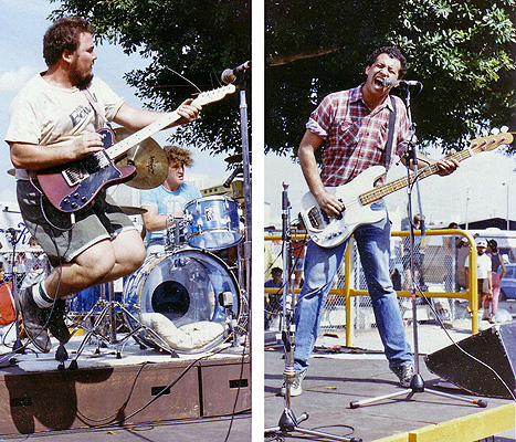 Minutemen L-R: D. Boon (guitar, vocals), George Hurley (drums), Mike Watt (bass, vocals)