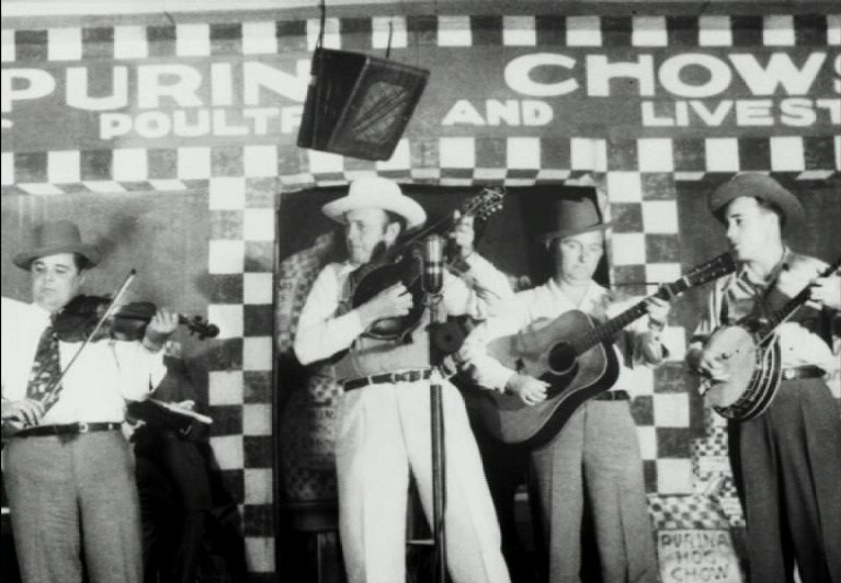 Bill Monroe and The Blue Grass Boys, Grand Ole Opry, circa 1947. L-R: Chubby Wise, Bill Monroe, Lester Flatt & Earl Scruggs.