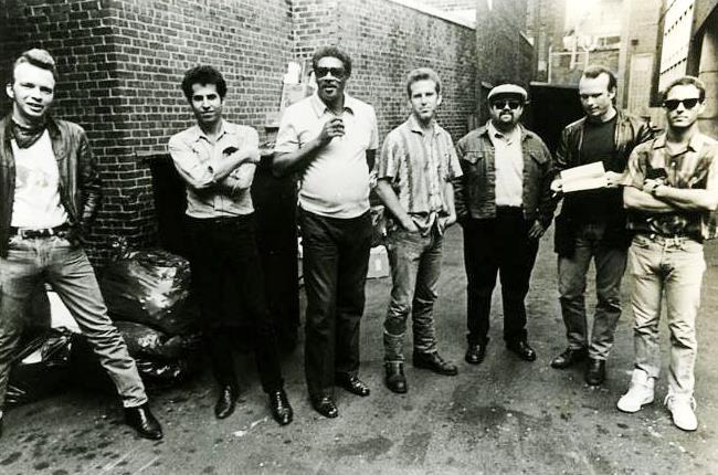 Blasters L-R: Dave Alvin, Steve Berlin, Lee Allen, John Bazz, Gene Taylor, Phil Alvin, Bill Bateman