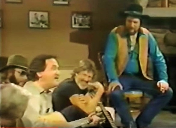 L-R: George Jones (back to camera), Hank Jr, Roger Miller, Kris Kristofferson & Waylon Jennings