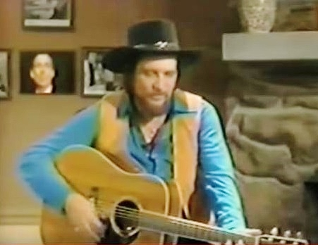 Waylon Jennings with 1968 Waylon in the inset over his right shoulder