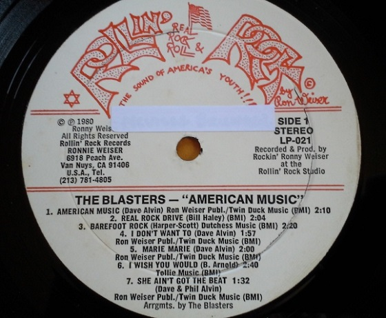 The Blasters - American Music (Side 1 Label)