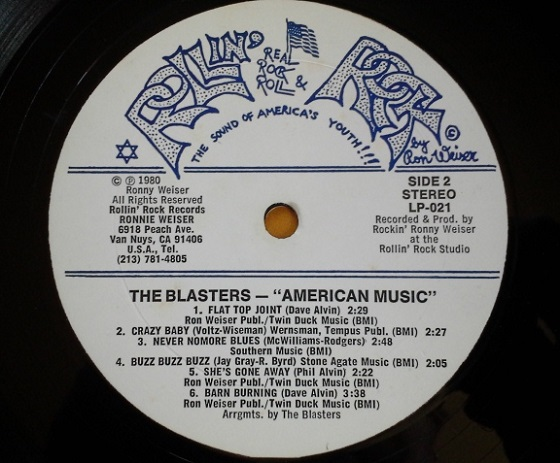 The Blasters - American Music (Side 2 Label)