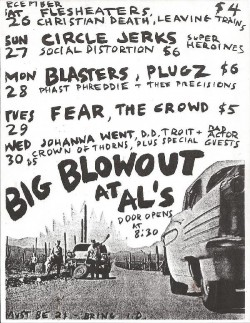 flesh eaters_christian death_circle jerks_social distortion_blasters_plugz_fear_the crowd_1980 flyer