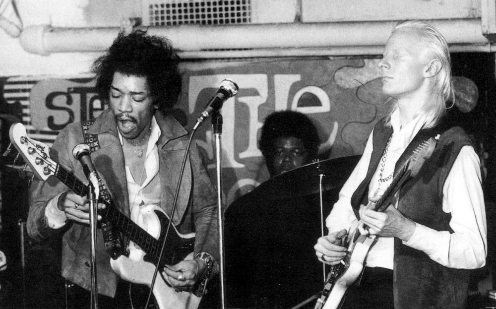 L-R: Jimi Hendrix (bass), Buddy Miles (drums) & Johnny Winter (guitar)