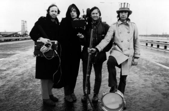 L-R: David Maysles, Mick, Albert Maysles & Charlie in Gimme Shelter