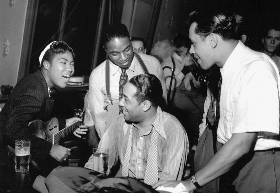L-R: Sister Rosetta Tharpe, unknown, Duke Ellington & Cab Calloway