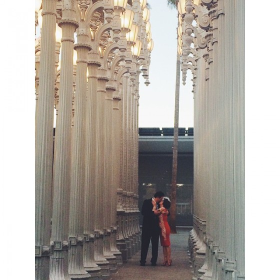 Lance and Sarah just before nuptializing at the Urban Light installation in front of LACMA. March 26, 2015. Photo: Rosa Narez